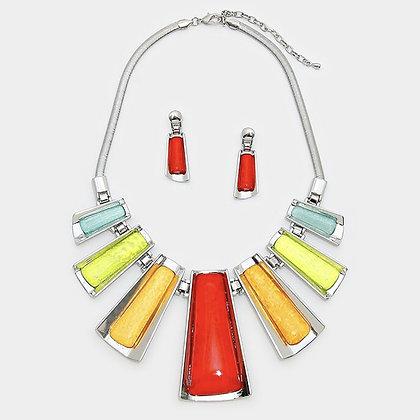 Epoxy Bar Metal Chain Statement Necklace