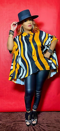 High Low Yellow & Black Top