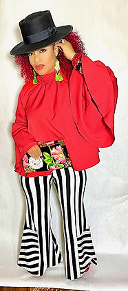 Red Flare Sleeve Back Zip Top