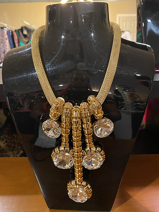 Gold Cluster Necklace With Matching Earrings