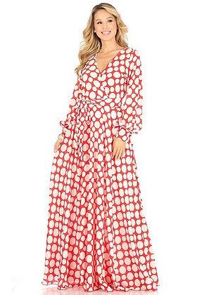 Polka Dot Print Wrapped, Maxi Dress Red