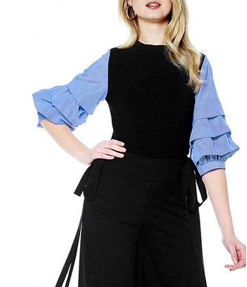 Puff Sleeve Black and Blue Sweater Shirt