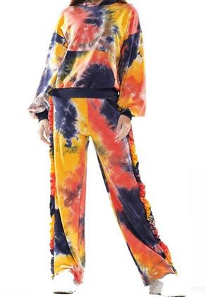 Tye Dye Knit Pants Wide Leg Sweatsuit