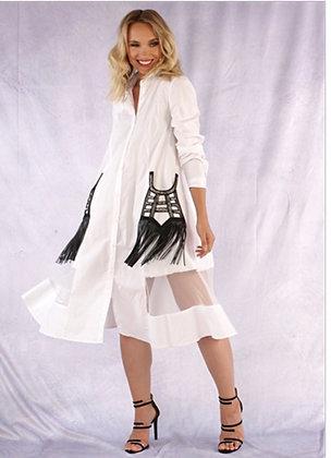 Black and White Shingle Pocket Dress