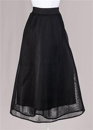Elastic Waist Side Zip Sheer Mesh Overlay Skirt