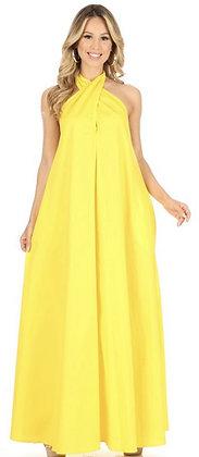 Sleeveless V-Neck Maxi Halter Dress Yellow