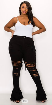 Curvy Skinny Flare Jeans Distressed
