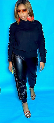 Faux Leather Hooded Jogger Pant