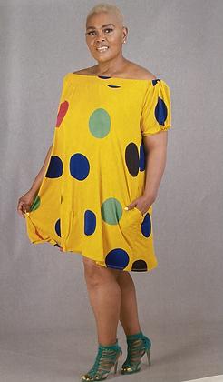 Off-Shoulder Aline Polka Dot Mini Dress