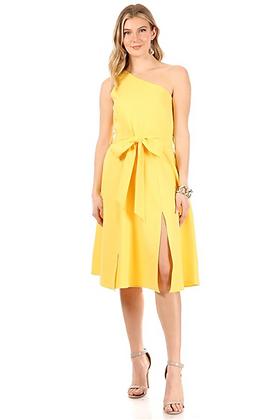 Belted One-Shoulder Slit Dress