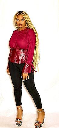 Front Slit Designer Burgundy Shirt