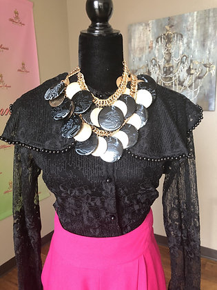 Black and Gold Round Necklace With Matching Earrings
