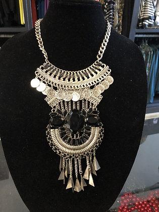 Silver & Black Bohemian Necklace