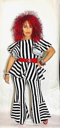 Striped Black & White 2 Piece Flare Pant Set