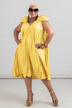 Rosette Shoulders Pleated A-line Dress