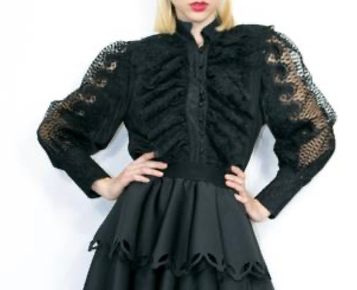 Lace Peekaboo Black Shirt