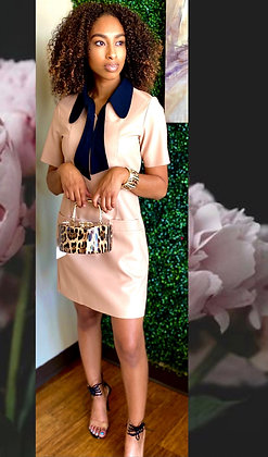 Faux Leather Mini Two Tone Tan Bow-tie Midi Dress