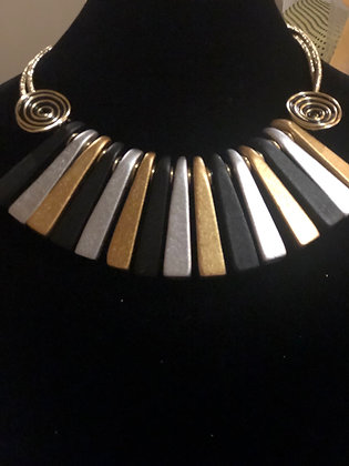 Multicolor Black Silver Gold Necklace With Matching Earrings
