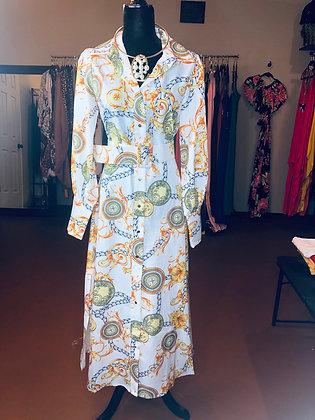 Print Maxi Button Down Tie Waist Belt Dress