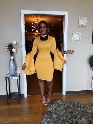 Mustard Ruffle Sleeve Bodycon Elegant Midi Dress