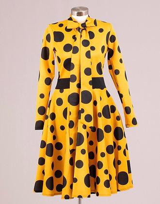 Polka Dot Scuba Midi Dress With Bow