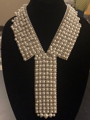 White & Pearl & Rhinestone Tie Necklace With Matching Earrings