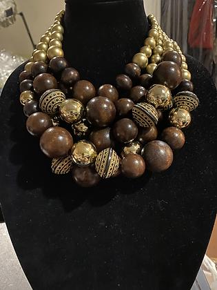 Dark Wood & Gold Necklace