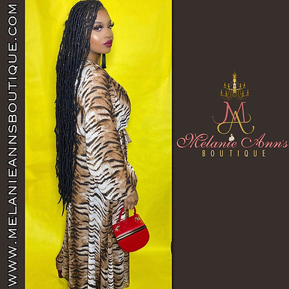 Tiger Print Long Sheer Maxi Dress