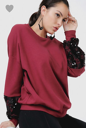 Sequin Lace Sleeve Crew Neck Sweater