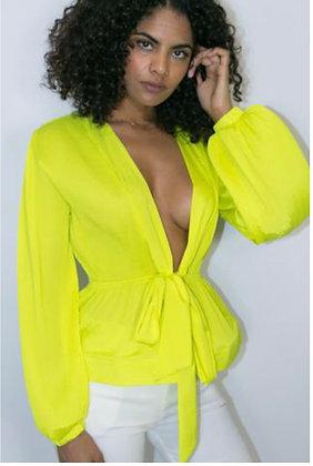 Neon Yellow Sheer Designer Shirt