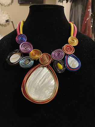 Multi Color Oval Necklace