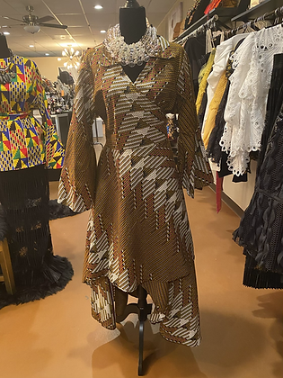 Authentic African Print Wrap Print Dress