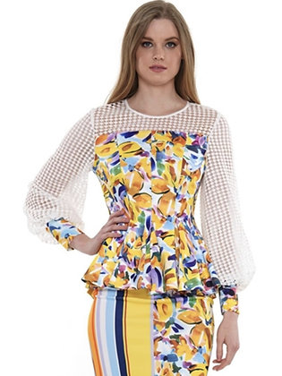 Multi Color 2 Piece Floral Skirt Set