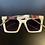 Thumbnail: Classy White Vintage Style Square Sunglasses- White, Black Green Arm
