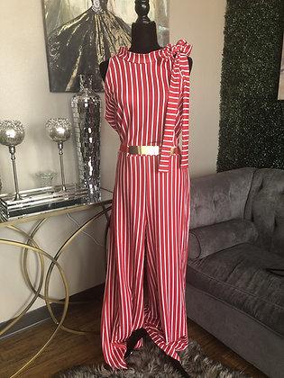 Red & White Stripe Wide Leg Jumper