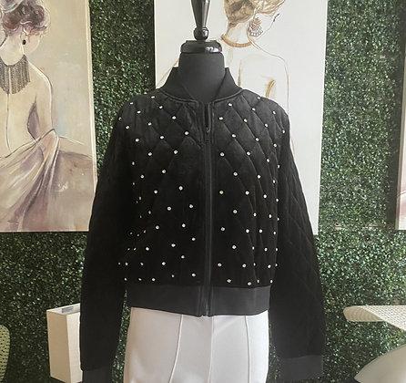 Embellished Rhinestone Velvet Jacket