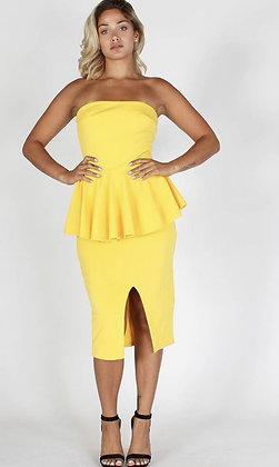 Solid Strapless Peplum Top Dress