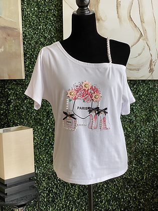 White Flower Paris Sleeve Top