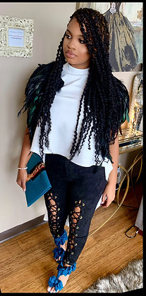 Lace Up High Waist Suede Black Skinny Pants