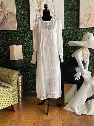 Long Sleeve Sheer Lace White Pleated Maxi Dress
