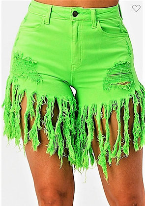 High Rise Stretch Fabric Fringe Shorts