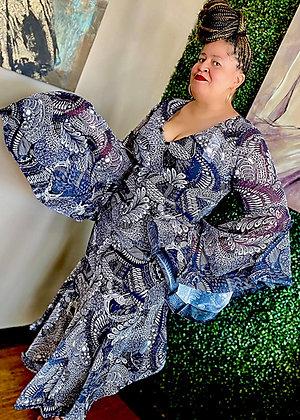 Black & Pattern Dress High Low V-Neck Dress