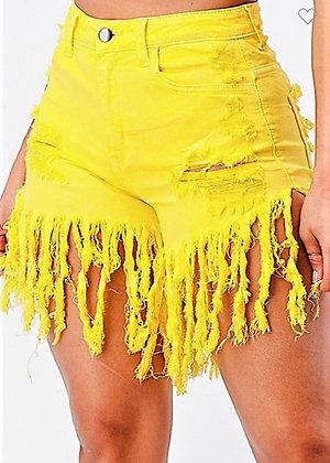 High Rise Stretch Fabric Fringe Shorts