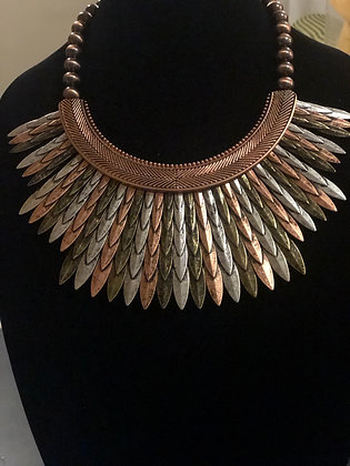 Multicolor Steal Necklace With Matching Earrings