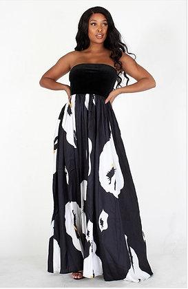 Black and White Flower Maxi Dress