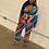 Thumbnail: Bright Rainbow Stripe Print Blazer Set Plus