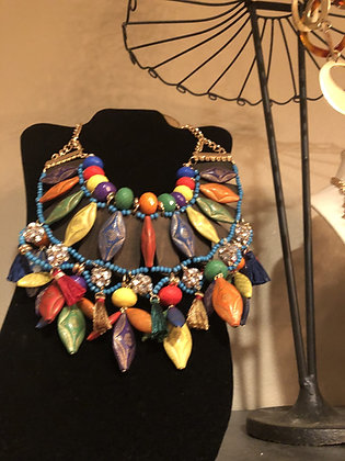 Wood Multi-Colored Tribal Necklace