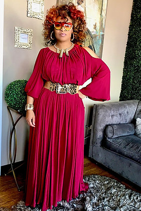 Peep Shoulder Burgundy Maxi Dress