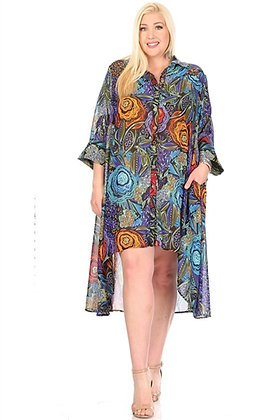 Print High-low Button-front Top