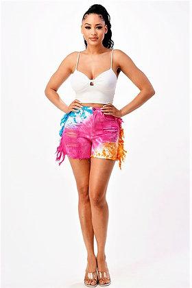 High Rise Tie Dye Fringe Shorts